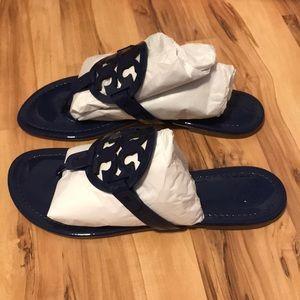 Tory Burch Miller Patent Blue Sandals